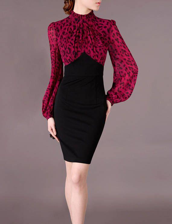 Vestido de leopardo Vintage vestido elegante vestido Retro celebridad gasa rojo y negro mosaico Puff largo mangas vestido hecho de encargo Chieflady CE16 Material: polyester 93% + 7% spandex Gasa: 100% poliéster Guarnición: poliester del 97% + 3% spandex Color: Mosaico, como se muestra Escote: Cuello alto; Silueta: Vaina; Decoración: Cremallera de la espalda  Este vestido se hace en cuanto a su medida (con sólo el sujetador en será más precisa) Ofrezca por favor la información siguiente…