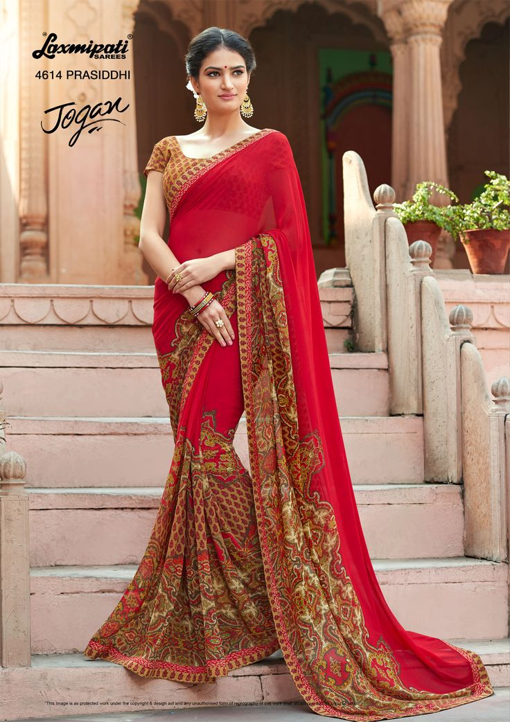 Mesmerize everyone with your wonderful conventional look by draping this red designer #georgette #floral #printedsarees along with Fancy Lace Border. Catalogue- JOGAN, Design Number: 4614, Price: ₹1458.00 #JOGAN0317 #Cashondelivery #Orderonline #Freeshipping #HaveFun #HappyWeekend