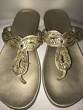 Women's Gold Thong Sandals Kenneth Cole reaction Embellished Shoes 8 Jeweled