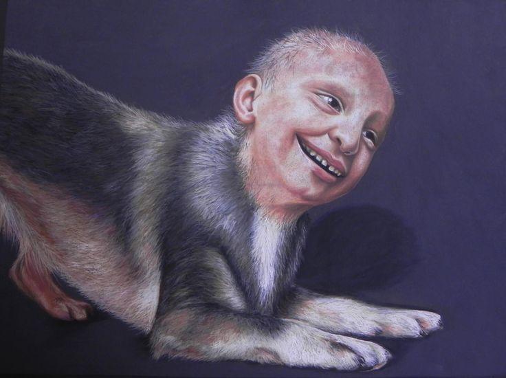 Society's good dogs II (The Suck-Up) - Pastel on Paper Artist: Ellenor Hastie
