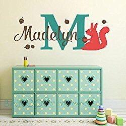 "BATTOO Squirrel Wall Decal - Kids Name Personalized Wall Decal Sticker- Name Initial Monogram Vinyl Wall Decal - Woodland Baby Nursery Kids Animal Room Theme(color1, 12""x32"")"