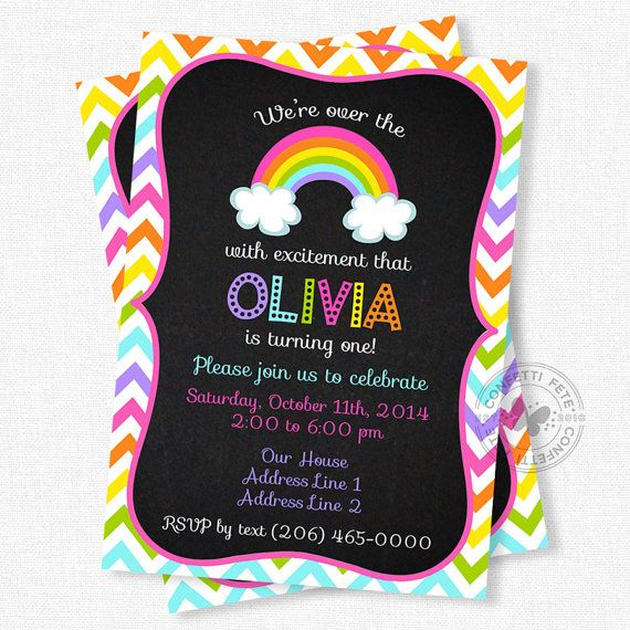 Rainbow Birthday Invitation Chevron Birthday by ConfettiFete