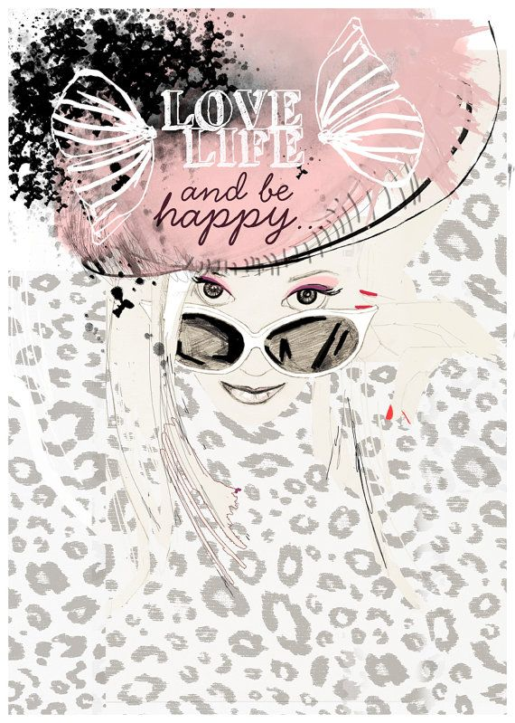 Watercolor Fashion Illustration pink glasses leopard by ARTbyLola,