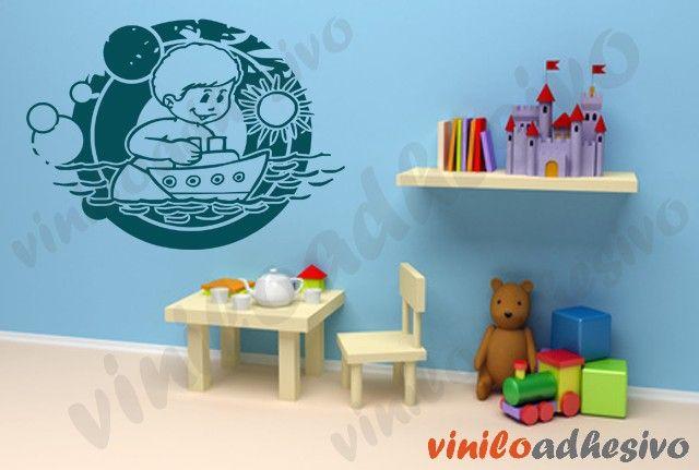 Vinilos infantiles, niño con barco - Vinilos decorativos infantiles #viniloadhesivo