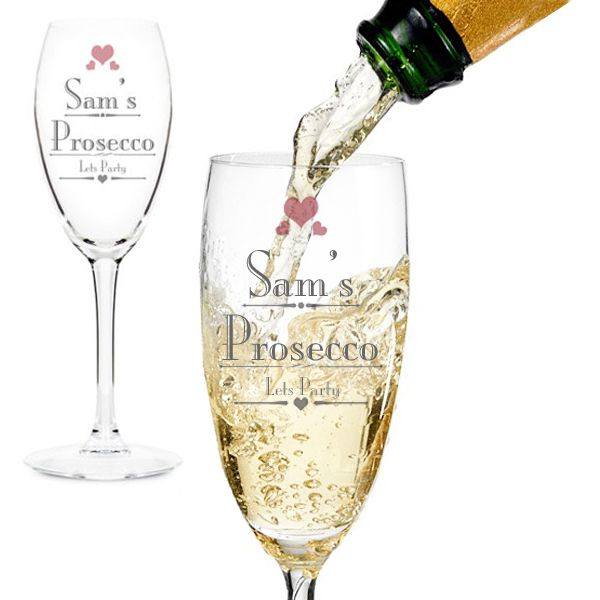 The Kitchen Gift Company - Personalised Prosecco Glass, £10.95 (http://www.thekitchengiftco.com/personalised-prosecco-glass/)