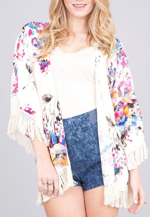 Tropical floral print kimono fringe cardigan on Etsy, $65.99