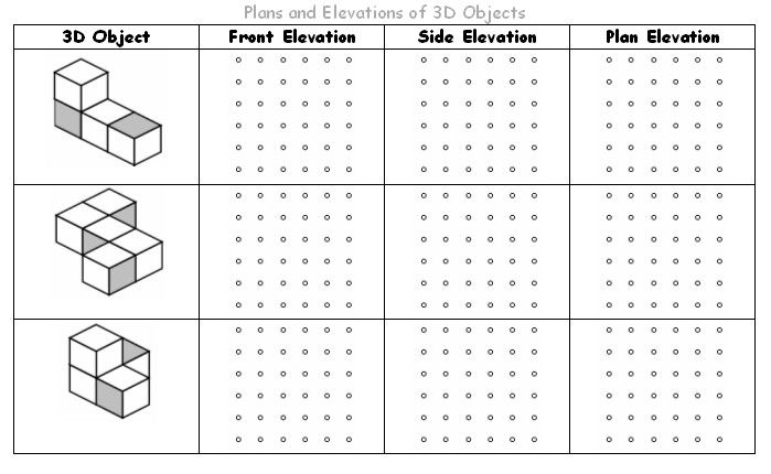 Plans and Elevations Math, Homework and Worksheets - isometric dot paper
