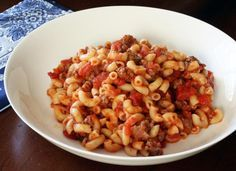 This great tasting American chop suey is one of my favorite dishes. I've added a little garlic and more tomatoes to my mother's version, but it still reminds me of the one she made.