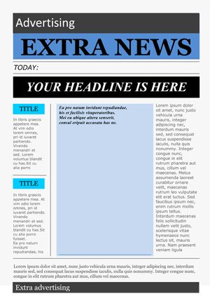 This will be a good high school newspaper, summer school newspaper or middle school newspaper template.