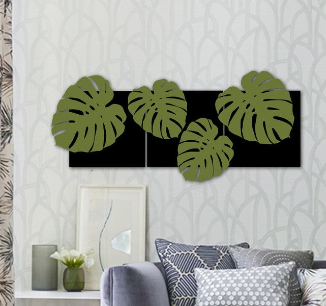 """Obraz drewniany """"Monstera1"""" - dekor8 - Ozdoby na ścianę"""