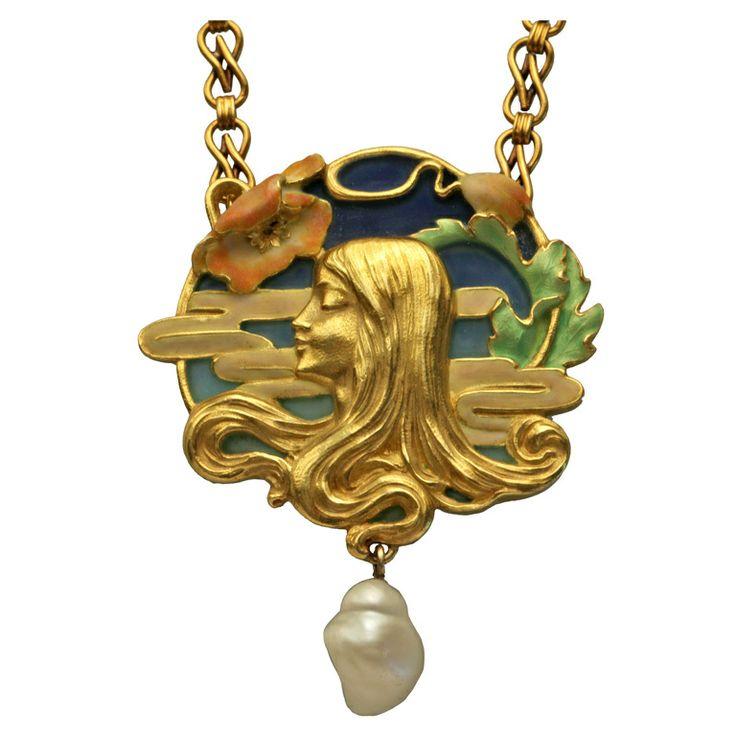 LOUIS ZORRA Art Nouveau Pendant | From a unique collection of vintage drop necklaces at http://www.1stdibs.com/jewelry/necklaces/drop-necklaces/