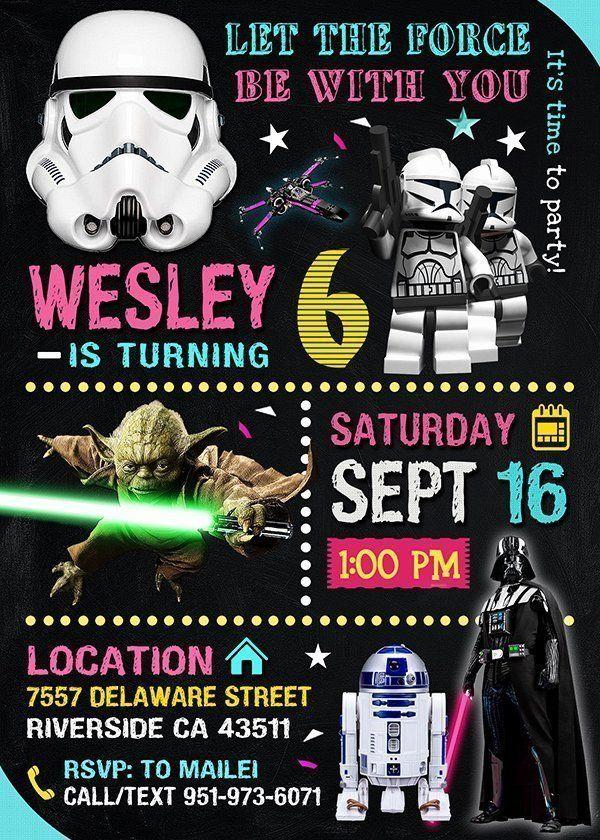 Star Wars Evite Invitation Elegant Star Wars Invitation Star Wars Invite Star Wars Birthday Pa In 2020 Star Wars Invitations Evite Invitations Star Wars Birthday Party