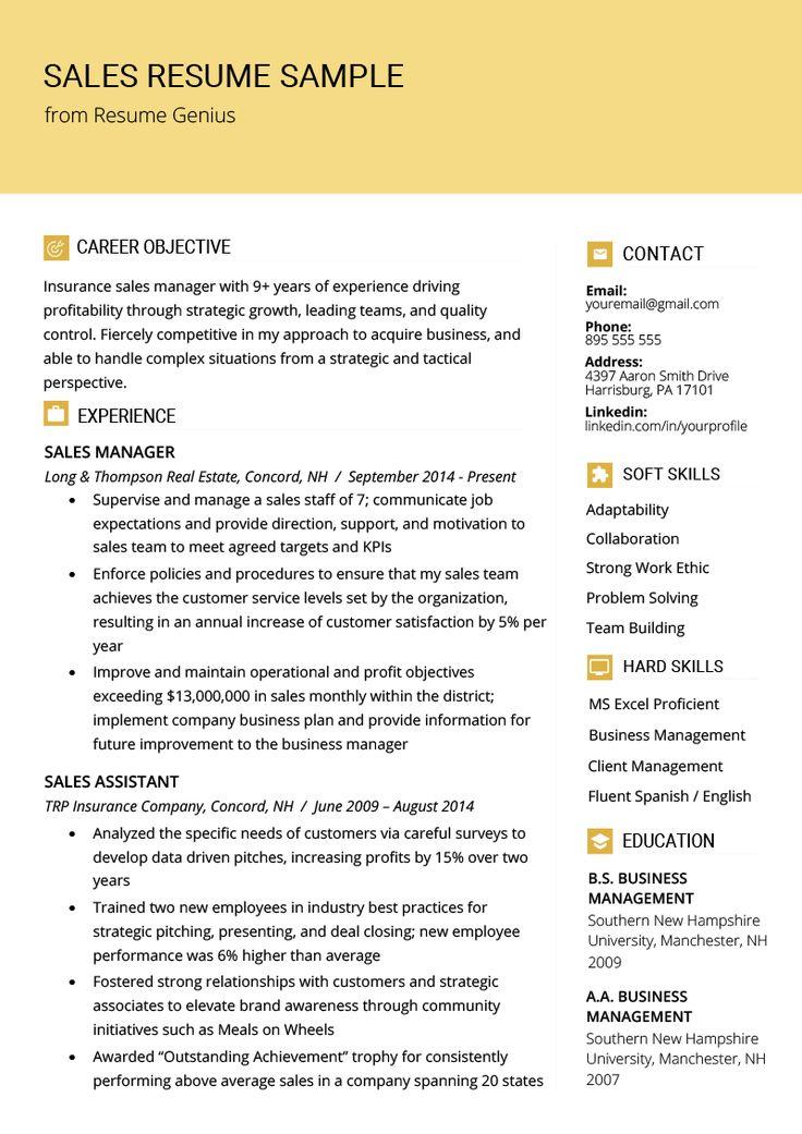 Sales Resume Samples & Writing Tips Resume Genius