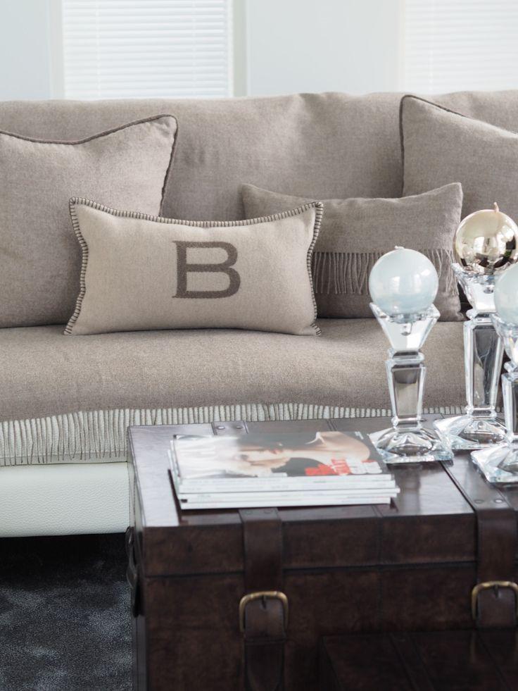 Balmuir B-logo cushion cover, 30x50cm, ivory/sand