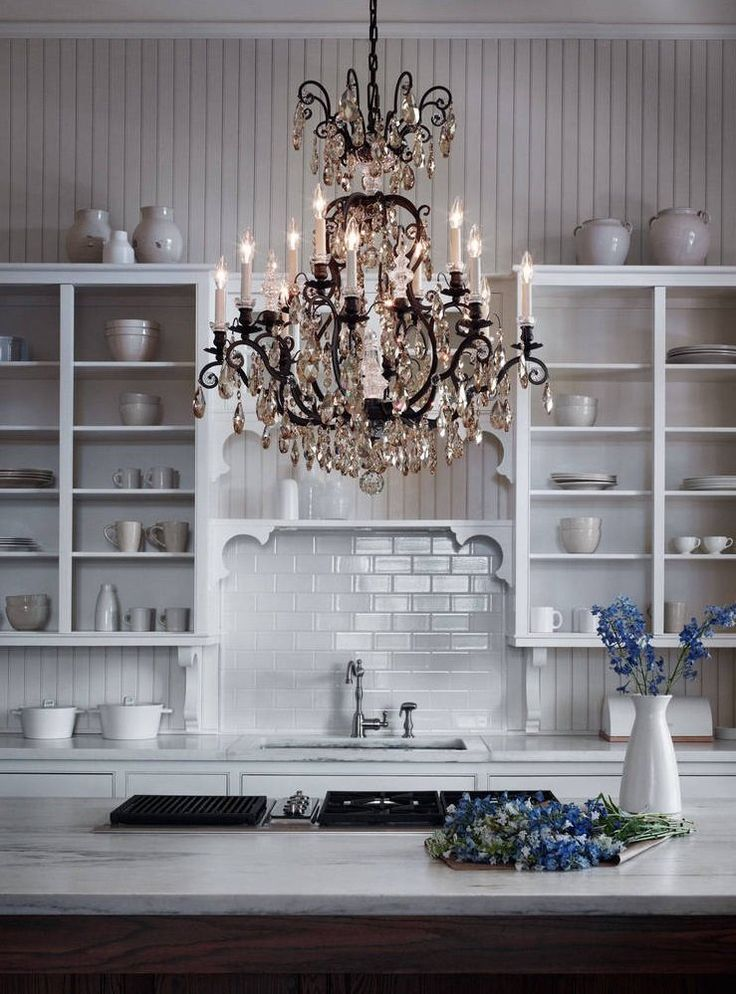 French kitchen with fabulous chandelier kitchen ideas pinterest - Kitchen chandelier ideas ...