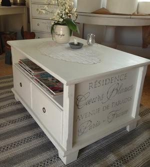 Himlarum - Soffbord med fransk text, 2 st lådor och 6 st fack