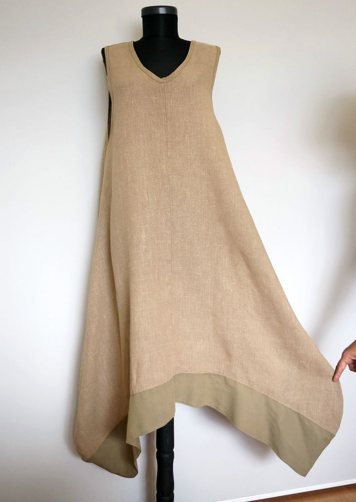 Completo Lino by Arthurio Beige 100% Linen Asymmetric Lagenlook Dress, Size:M