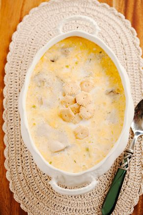 Paula Deen Oyster Stew - My mother would often fix Oyster Stew on chilly nights, much to the delight of my daddy.  I remember that he likes ketchup in his oyster stew.  :)