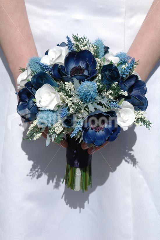 Real Touch Blue Anemone Distel Rose Kleine Hochzeitsstrauss Distel