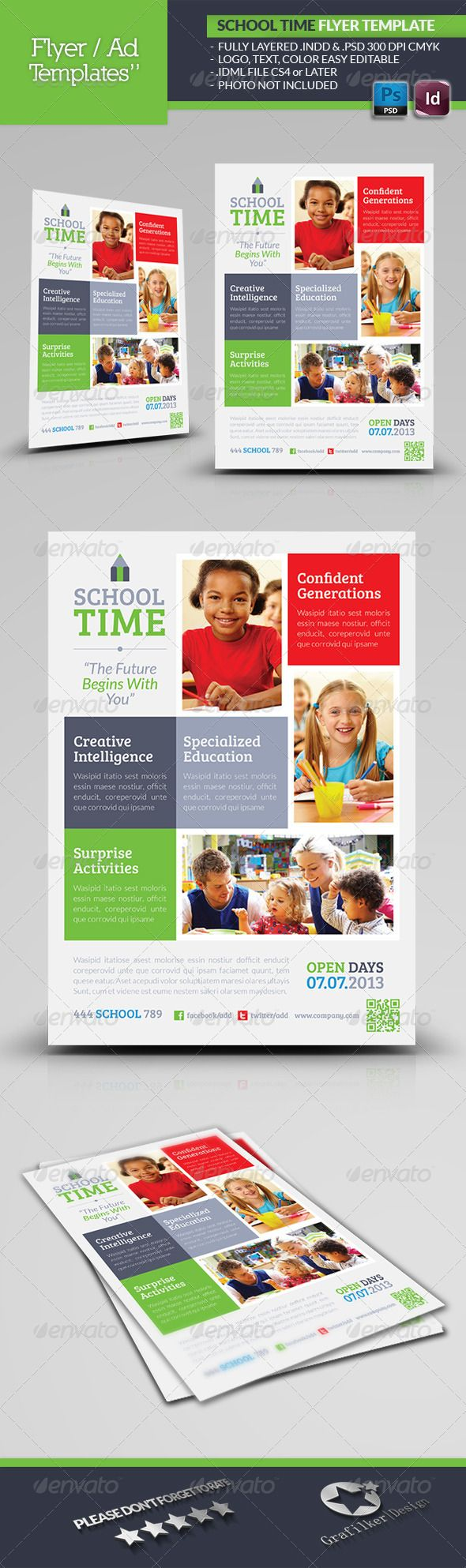 School Time Flyer Template #GraphicRiver School Time Flyer Template Fully layered INDD Fully layered PSD 300 Dpi, CMYK IDML format open Indesign CS4 or later Completely editable, print ready Text/Font or Color can be altered as needed All Image are in vector format, so can customise easily Photos are not included in the file Font File: Lato Font: .fontsquirrel /fonts/lato Bree-serif: .fontsquirrel /fonts/bree-serif Help.txt file Created: 18June13 GraphicsFilesIncluded: PhotoshopPSD…