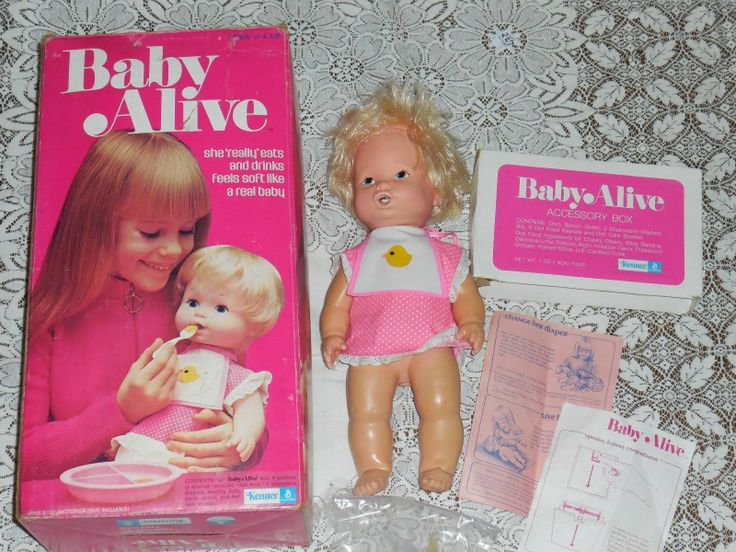 Vintage 1973 Kenner Baby Alive Doll With Box Pushing On