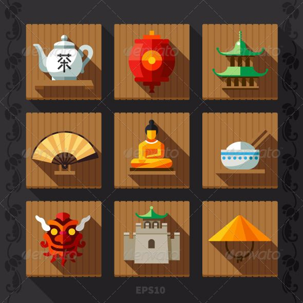 Chinese Culture Symbols and Elements | GraphicRiver