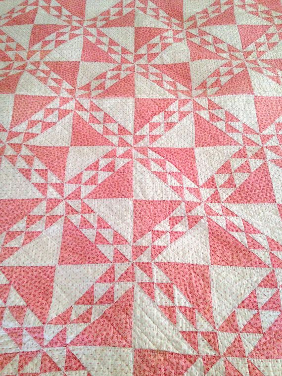 Antique Quilt, Beautiful Pink and White Quilt, Double Pinks, Ocean Waves Hourglass Quilt, Handstitched, Crafting Quilt, Pink Calicos Quilt