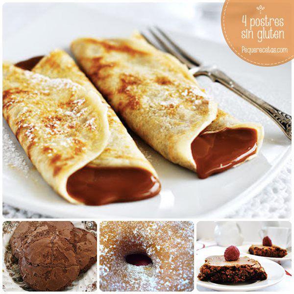 Recetas sin gluten: ¡4 deliciosos postres sin gluten! Recetas de postres sin gluten: galletas de chocolate, donuts, brownies y crepes sin gluten.
