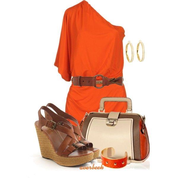 """Orange Dress"" by averbeek on Polyvore"