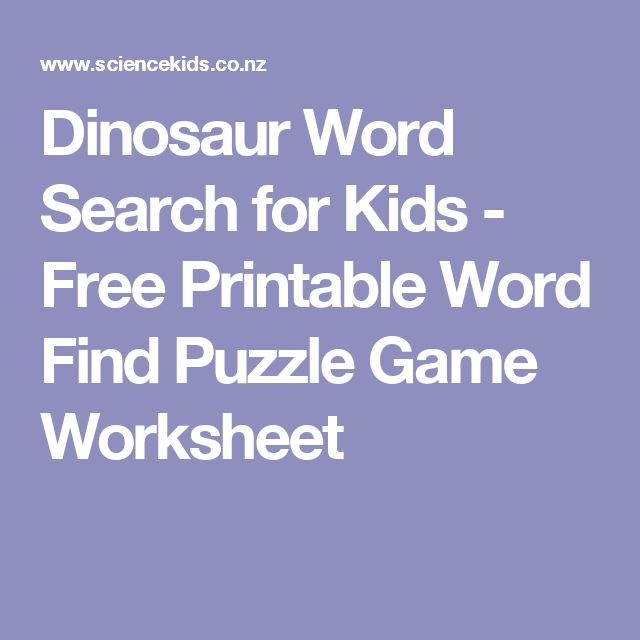 Dinosaur Word Search for Kids - Free Printable Word Find Puzzle Game Worksheet
