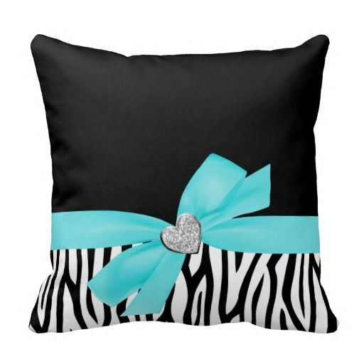 Zebra Teal Blue Bow Diamond Heart Pillow