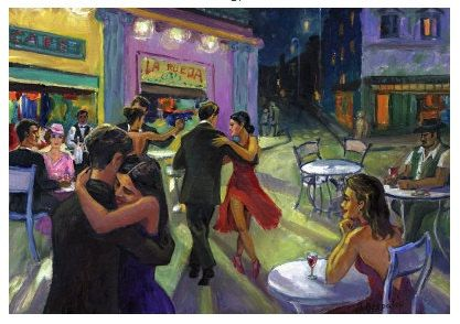 Tango Cafe POSTER or PRINT on Canvas Tango Dancing Couple, Argentine Tango Art, Romantic Couples, Buenos Aires
