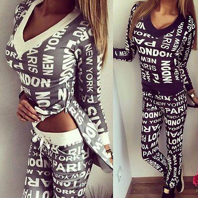 2016女性トラックスーツ服パーカーセットレタープリントスポーツウェアスーツ女性2ピースセット衣装スウェットシャツ+パンツsudaderas