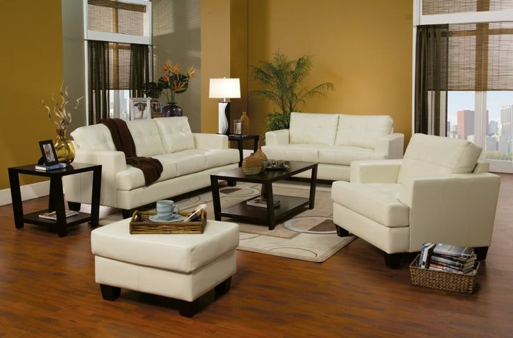Toronto Cream Tufted Leather Sofa and Loveseat at GoWFB.ca | True Contemporary - Toronto Cream Tufted Leather Sofa and Loveseat by True Contemporary
