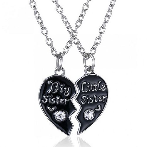 "2 Pcs ""Best Sister"" ""Little Sister"" Heart Pandent Friendship Chain Necklaces  BD9I"