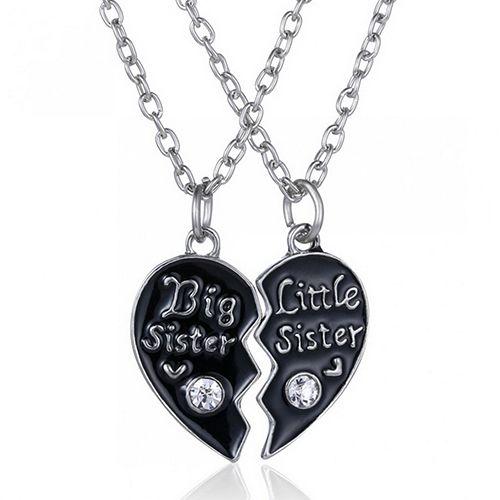 "2 Pcs ""Best Sister"" ""Little Sister"" Heart Pandent Friendship Chain Necklaces  BD9I"