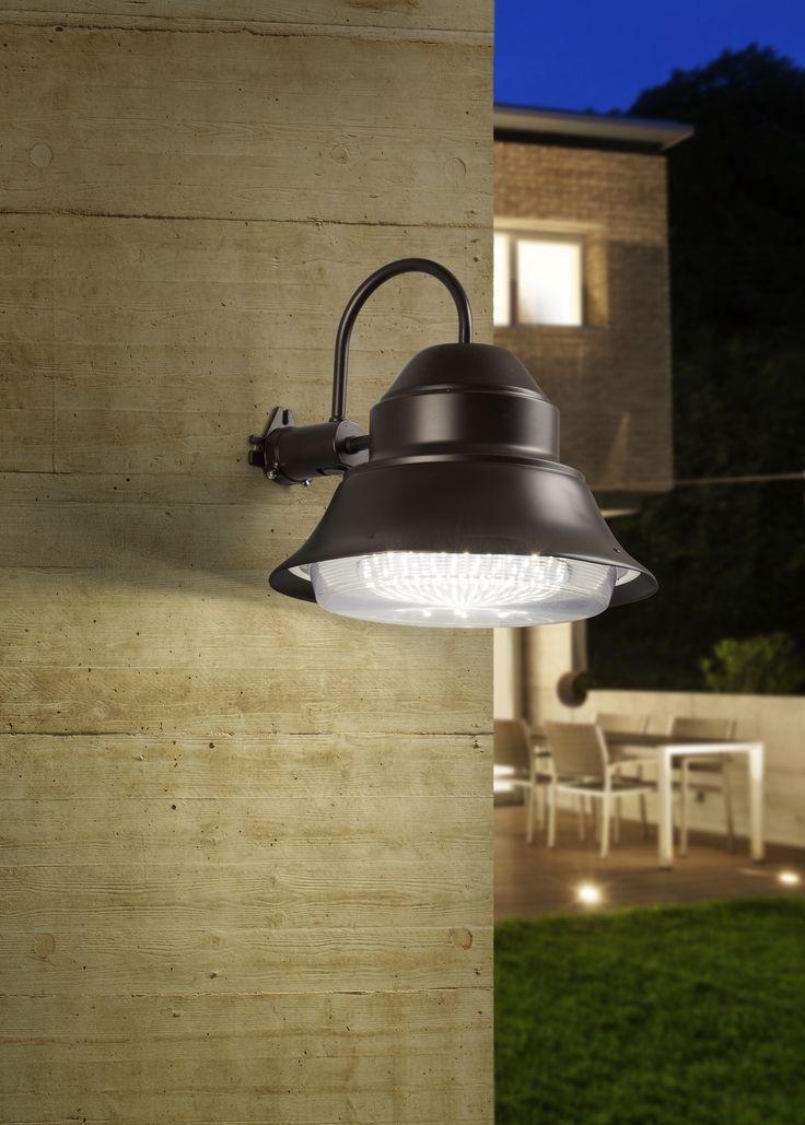 La tecnología LED puede también usarse en luces para exterior, como en esta lámpara suburbana.