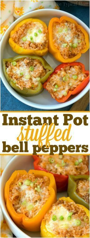 These easy Instant Pot stuffed peppers will be your favorite pressure cooker meal! Stuffed with cheesy ground beef and rice they're packed with flavor! ad via @thetypicalmom