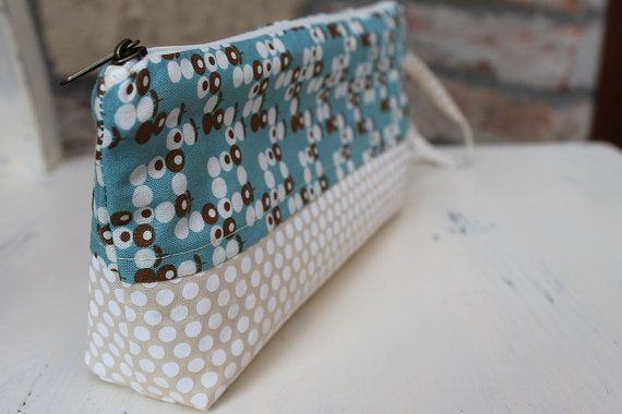 Blue Pencil case Cosmetic pouch floral cotton make up bag zipper #zipper #canvaspurse #pencilcase #flowerspurse #womengift #toiletrybag