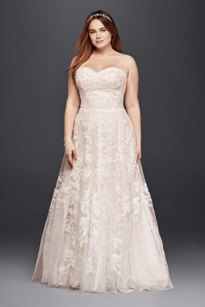 Extra Length Lace Melissa Sweet Sweetheart Plus Size Wedding Dress - Ivory / Blush, 16W