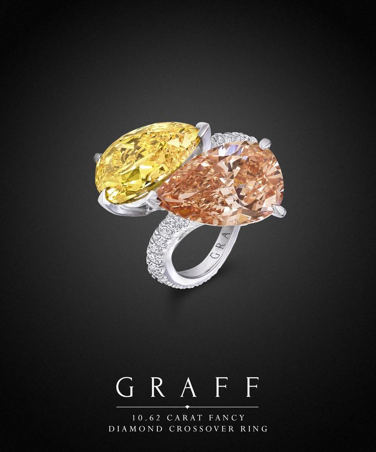 An elegant diamond ring featuring two perfectly intertwined, exceptionally rare, coloured diamonds.