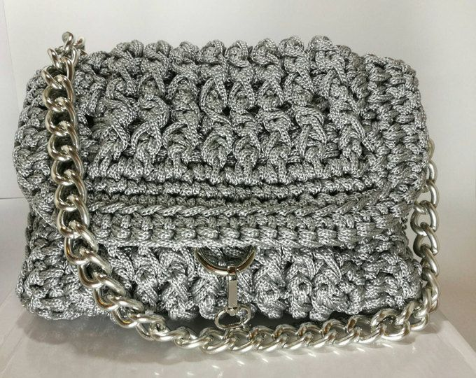 Women's light Grey shoulder Handbag with Silver Chain and Details/ Crochet