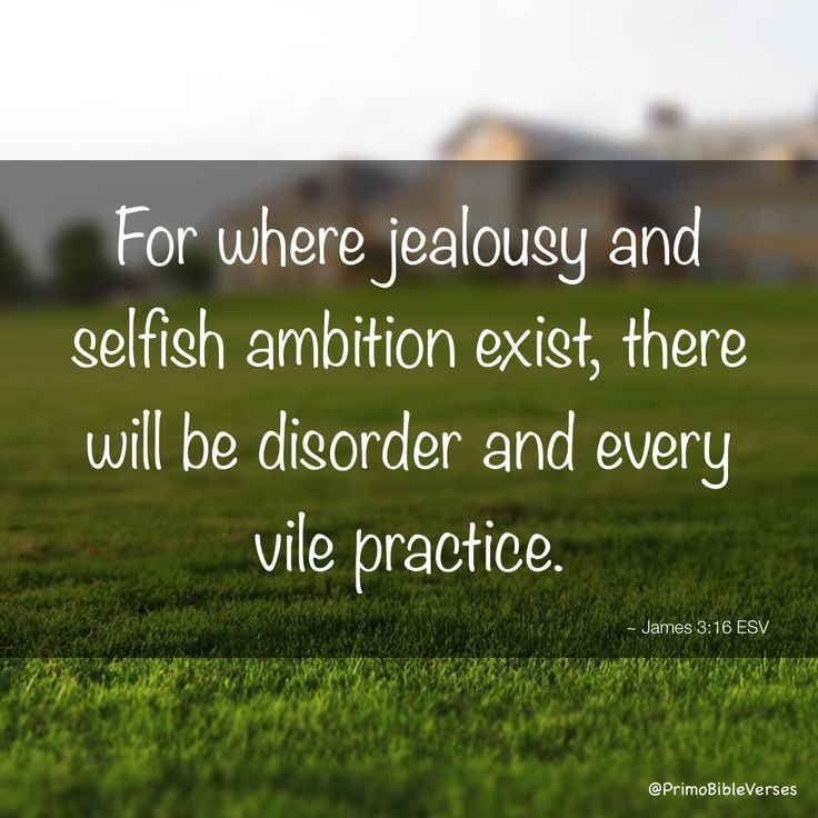 For where jealousy and selfish ambition exist, there will be disorder and every vile practice. ~ James 3:16 ESV
