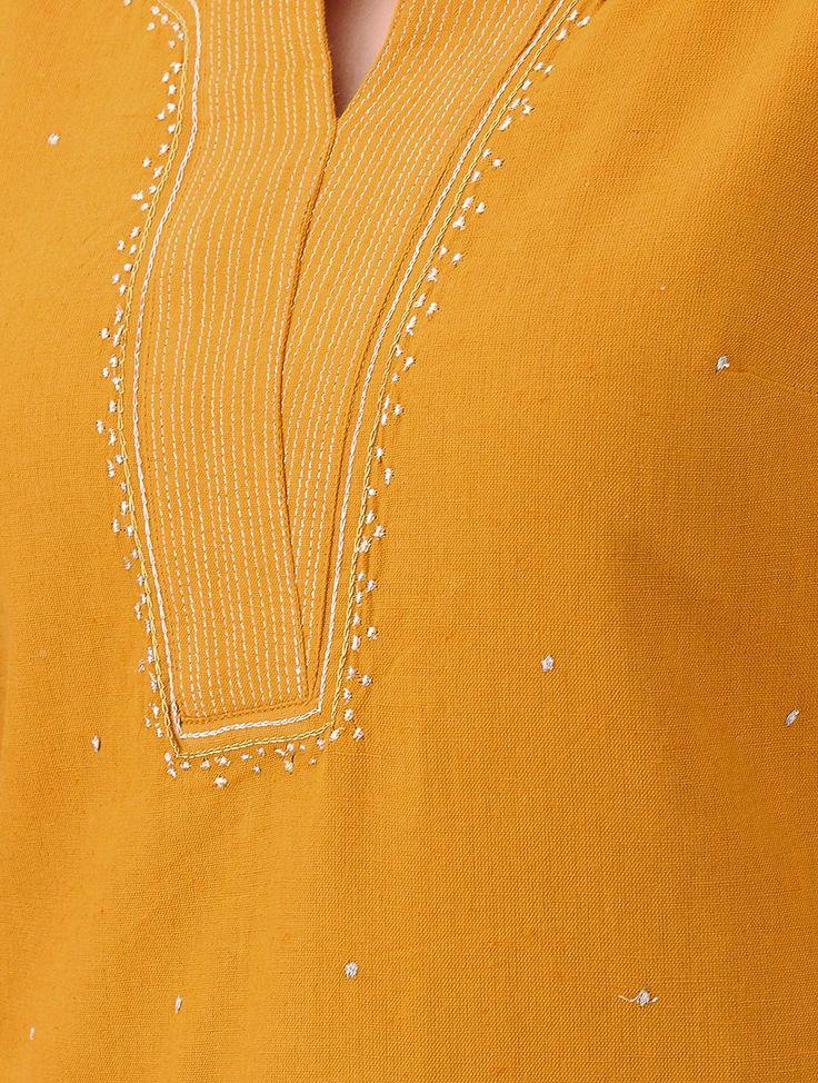 Buy Mustard Zari embroidered Cotton Kurta Women Kurtas Online at Jaypore.com