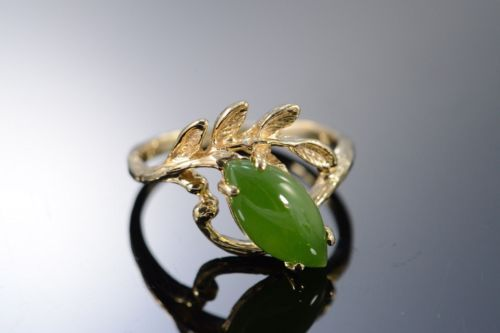 14K-0-60-CTW-Cabochon-Marquise-Jade-Leaf-Ring-Size-4-75-Yellow-Gold