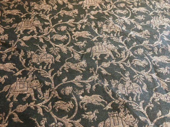 Free Usa Ship 52 Wide Olive Green Drapery Upholstery Home Decorator Floral Drapery Fabric Elephant Indian Chinoiserie Toile Animal Pattern Fabric Decor Drapery