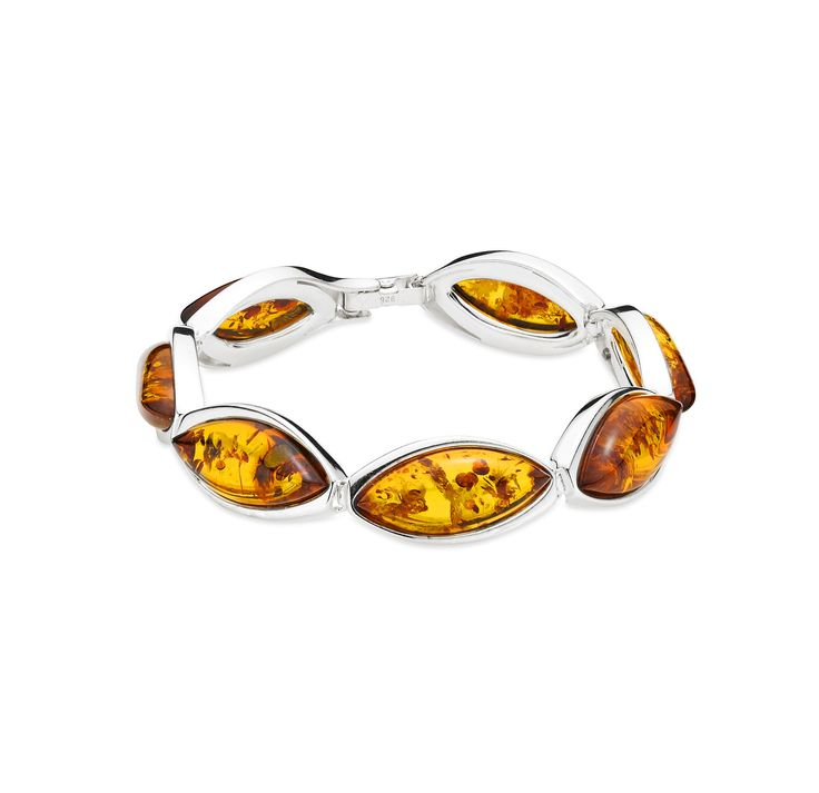 House of Amber - A marvelous silver bracelet with cognac color amber.
