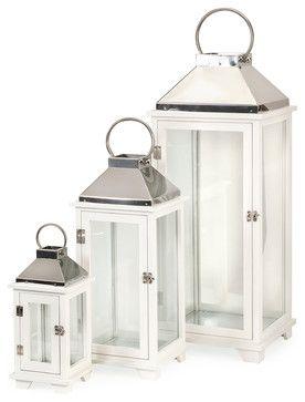 Martha Wood Lanterns, Set of 3 beach-style-candleholders