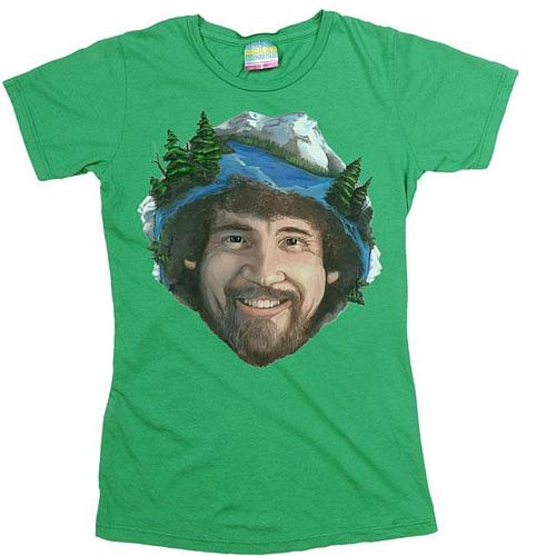 Appreciate life's happy accidents w/ PBS' favorite art instructor, Bob Ross, and put a smile on in this comfy tee.