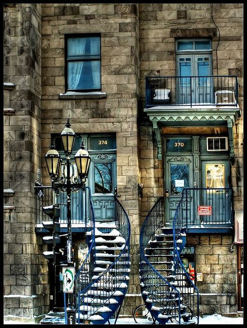 Montreal, Canada: Stairs, Window, Blue Doors, Beautiful Places, Apartment, House, Montreal Quebec, Photo, Montreal Canada
